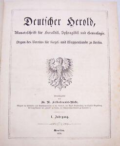 Deutsche-Herold-Zeitschrift-Heraldik-Sphragistik-amp-Genealogie-1-Jahrgang-1870