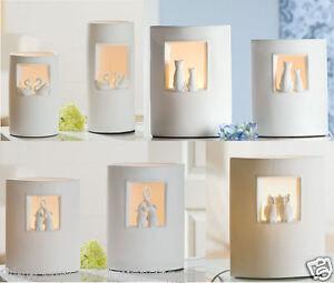 gilde porzellan deko lampe weiss motiv katzen elefant oder eule zur auswahl. Black Bedroom Furniture Sets. Home Design Ideas