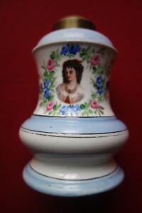Détails sur Pied de lampe, Napoléon III, porcelaine de Paris, peinte main, haut en cuivre