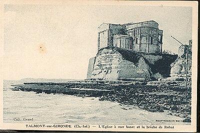 17 TALMONT - église à marée basse et brèche de rabat