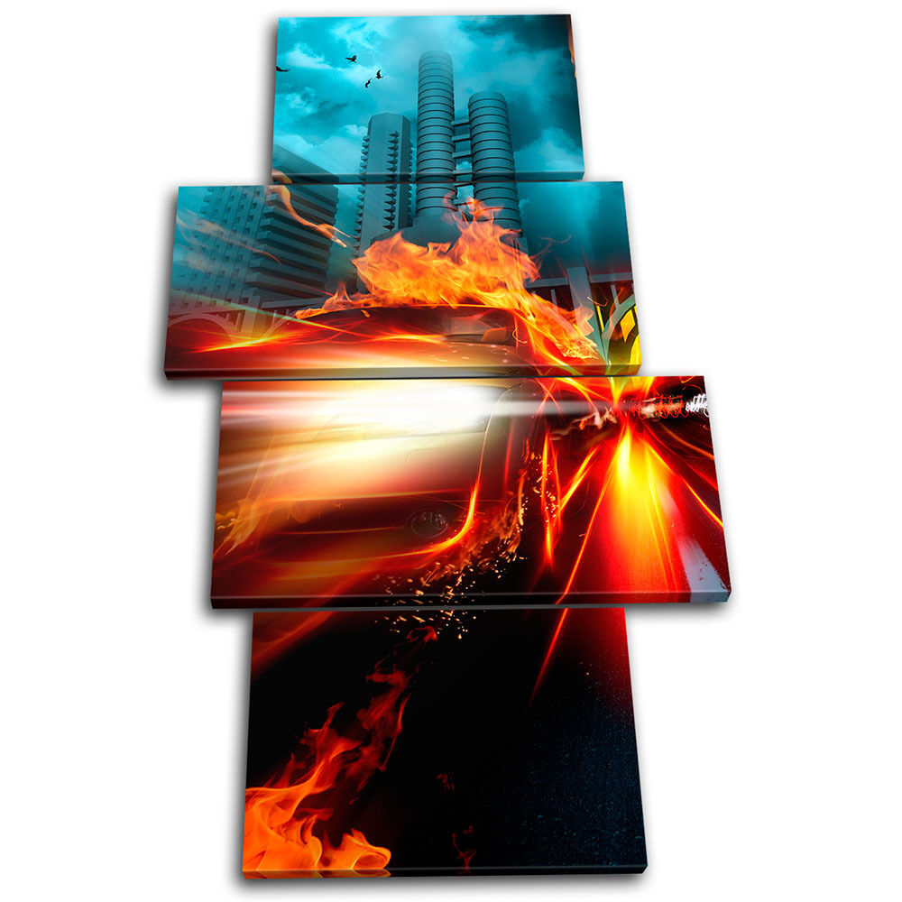 Flaming Car Transportation MULTI Leinwand Wand Kunst Bild drucken