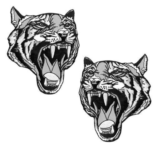 VEGASBEE TWO TIGER HEAD EMBROIDERED PATCH IRONON APPLIQUÉ FASHION PATCHES SET