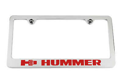White Engraved Logo Satin Black Hummer H3 License Plate Frame USA
