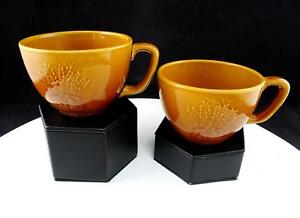 FRANCISCAN-USA-WHEAT-GOLDEN-BROWN-HARVEST-3-5-8-034-SET-OF-TWO-CUPS-1951-1954