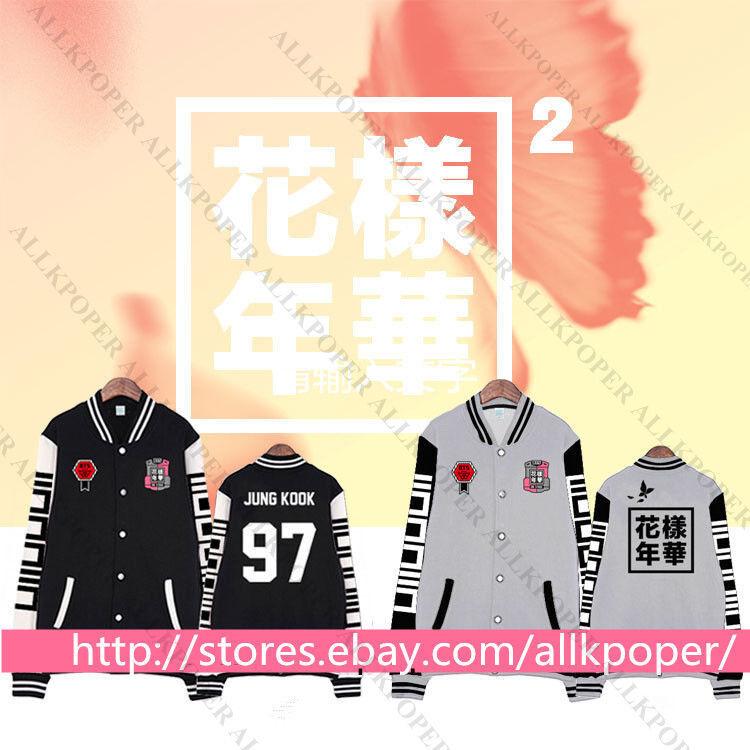 BTS In Bloom Baseball Uniform Bangtan Boys Unisex Varsity Jacket Coat v Outwear