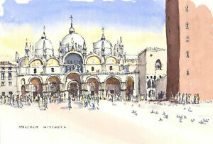 Malcolm-Mitchell-Signed-20th-Century-Watercolour-St-Marks-Square-Venice