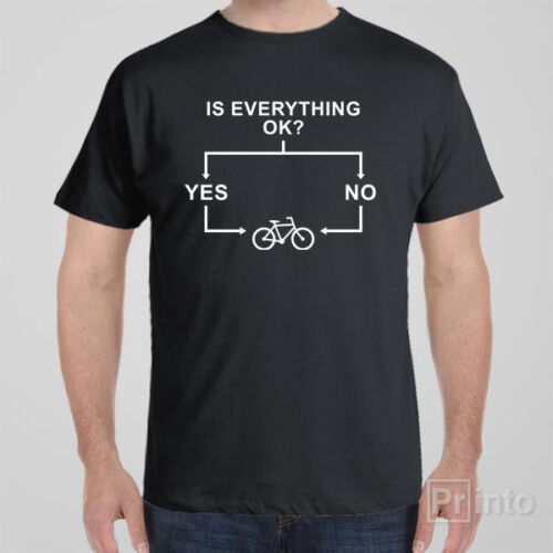 Funny T-shirt FLOWCHART BICYCLE cycling novelty gift for men or women