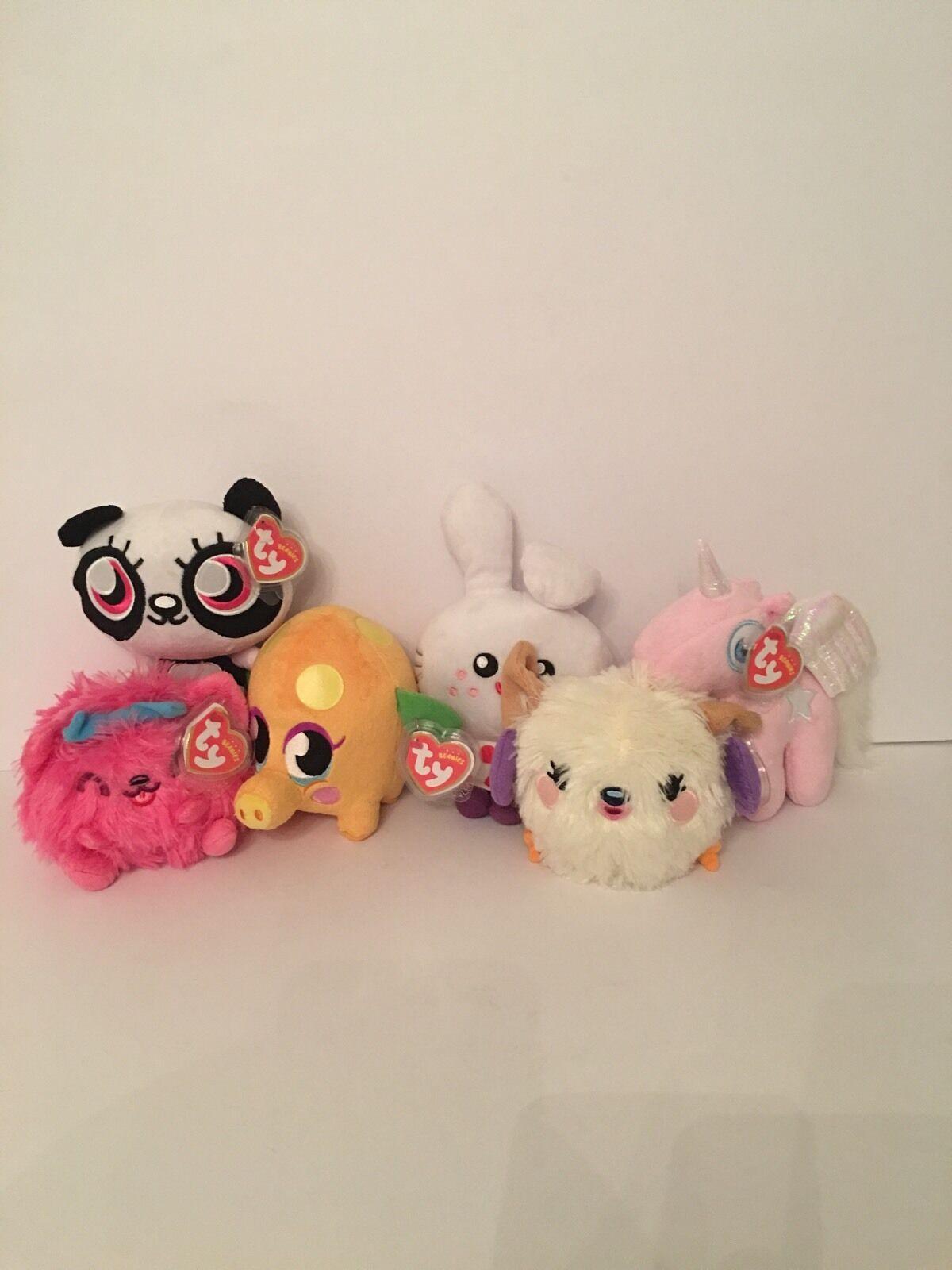 Ty Beanie Babies - Mr Snoodle, Angel, Honey, Purdy, ShiShi & Squidge