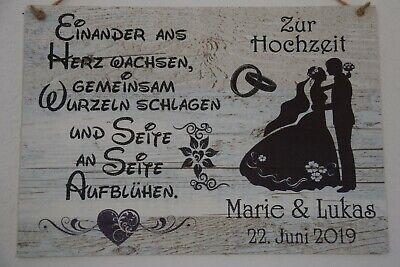 """Holzoptik verwittert Dekoschild Holzschild /""""Hochzeit Name Datum/"""" handgemacht"""