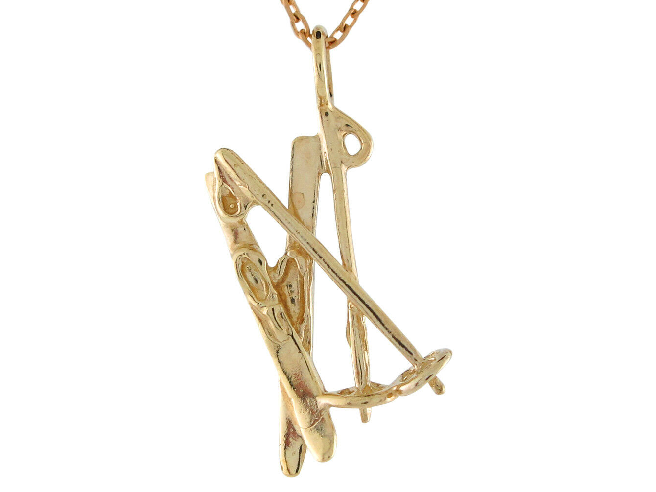 10k or 14k Yellow gold Cute Snow Sport Skis Shaped High Polish Pendant