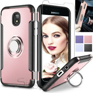 new product 28e4e 7ede7 Details about Samsung Galaxy J7 Crown/Refine/Star/J7 V 2018 Ring Stand  Phone Case Screen Cover