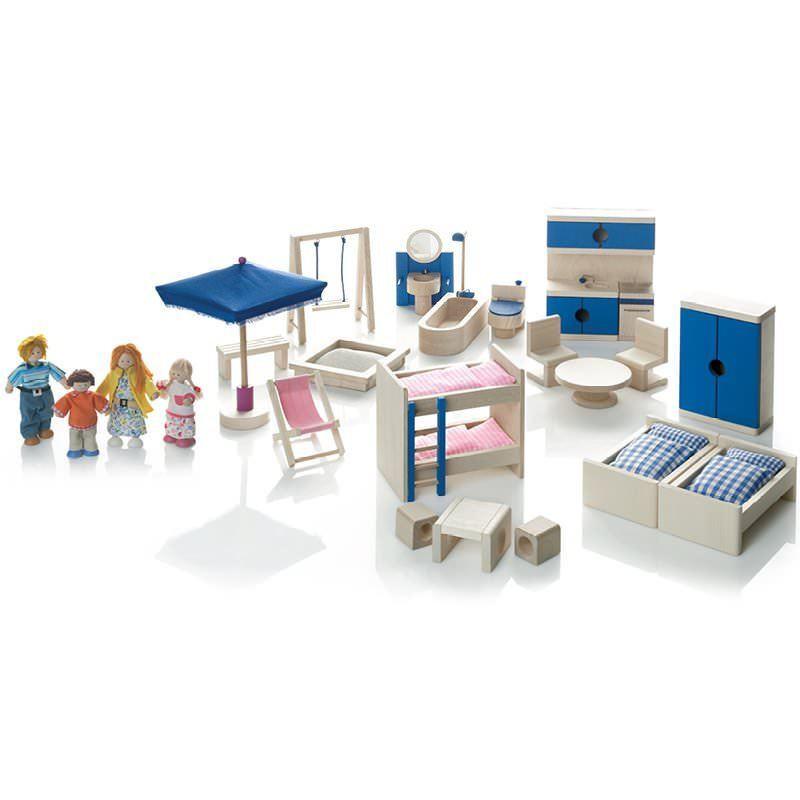 Wendelstein Werkstätten Puppenhaus-Möbel und Puppenfamilie Set - NEU SOFORT