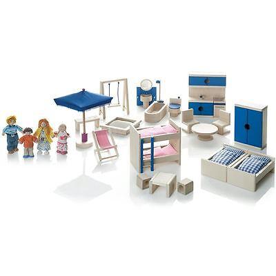 Wendelstein Werkstätten Puppenhaus-Möbel und Puppenfamilie Set - NEU SOFORT !!!