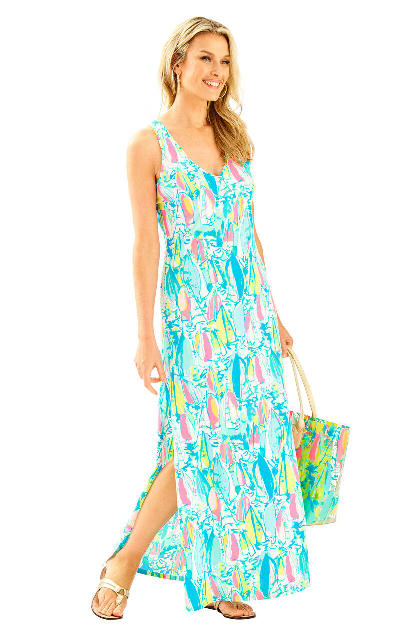 Lilly Pulitzer Kerri Beach And And And Bae Pima Cotton Jersey Tank Maxi Long Dress a51fcc