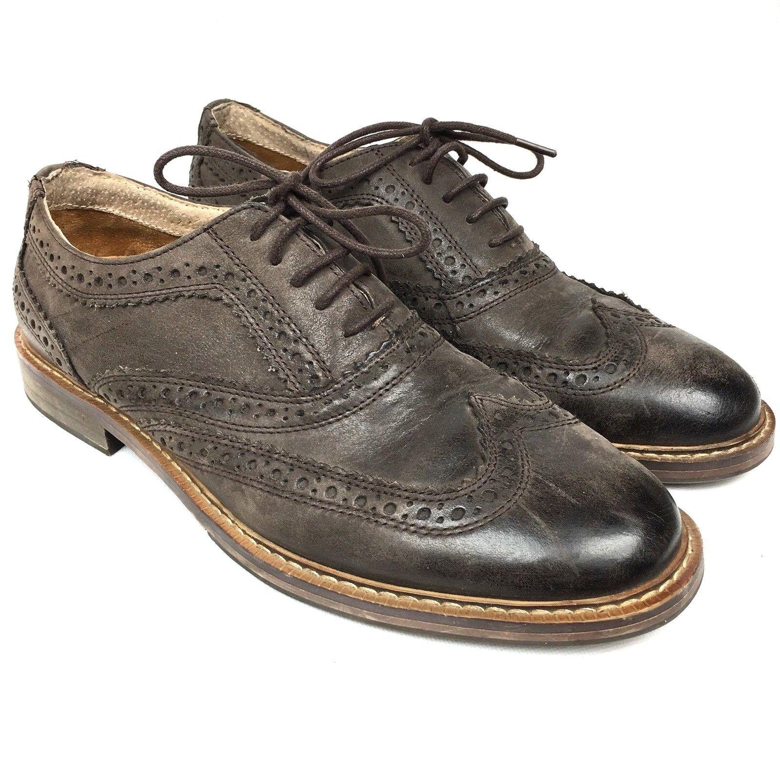 STEVE MADDEN Daxx Men's Sz Oxfords 10 Brown Nubuck Wingtip Oxfords Sz Shoes 150731