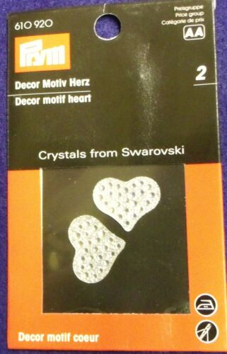 Iron-on or Sew-on Pack of 2 Prym 22mm Heart Motifs Crystals from Swarovski