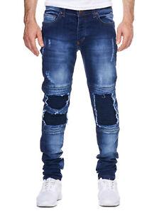 JEANS-Uomo-Biker-Blu-Strappati-Ripped-denim-jeans-pantaloni-slim-fit-John-Kayna