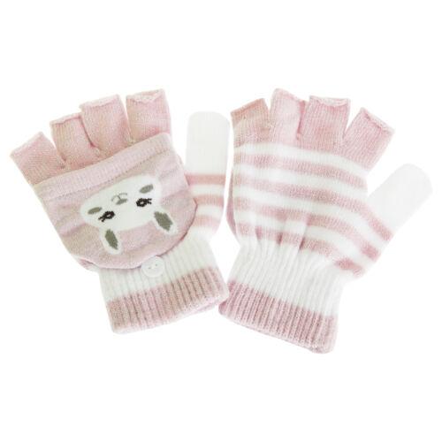 1 Paar GL597 Childrens//Gestreifte Katzen Halbfinger Handschuhe mit Glitter