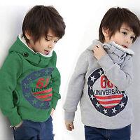 Baby Kids Boy Winter Warm Hoodie Sweatshirt Top Hoody Fleece Jumper Coat Sweater