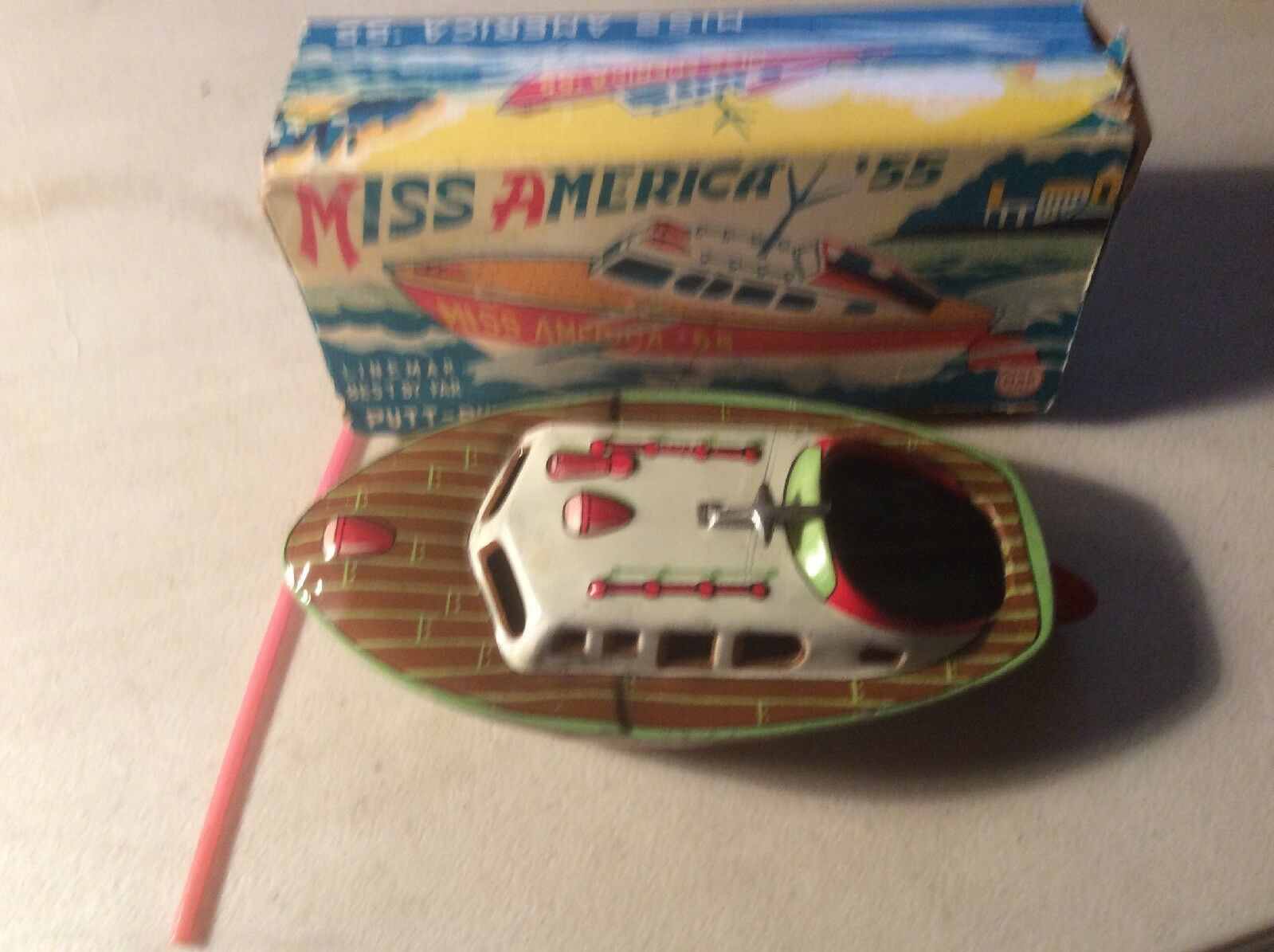 Marx Linemar Miss America 55 Tin leksak Boat Japan With Box and Straw, Excellent