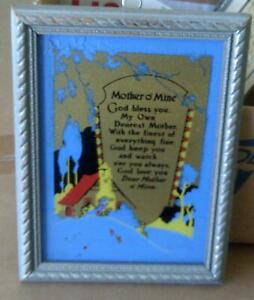 Mothers Day Tribute Nouveau Design Reverse Paint Antique 'mother O' Mine' Poem High Resilience