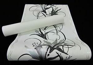 13305-edle-Vliestapete-034-Easy-034-edles-Blumen-Design-Tapete-schwarz-und-silber