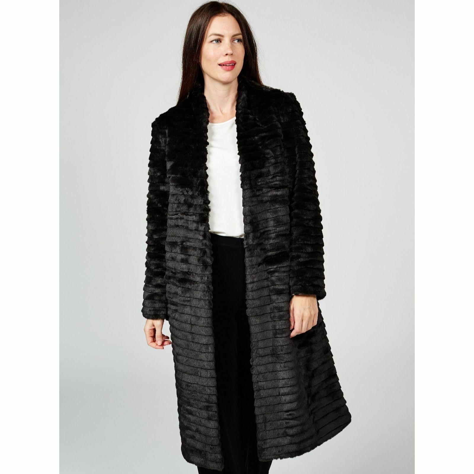 Black Helene Berman Faux Fur Edge to Edge Coat & Grey Contrast Lining -14 & BNWT