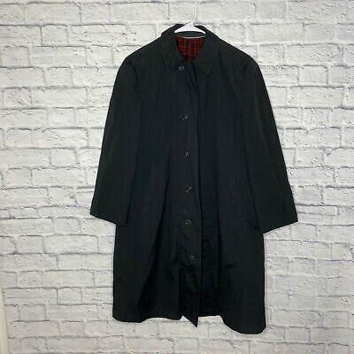 Vtg London Fog Men S Black Button Down Lined Trench Coat 36r Ebay