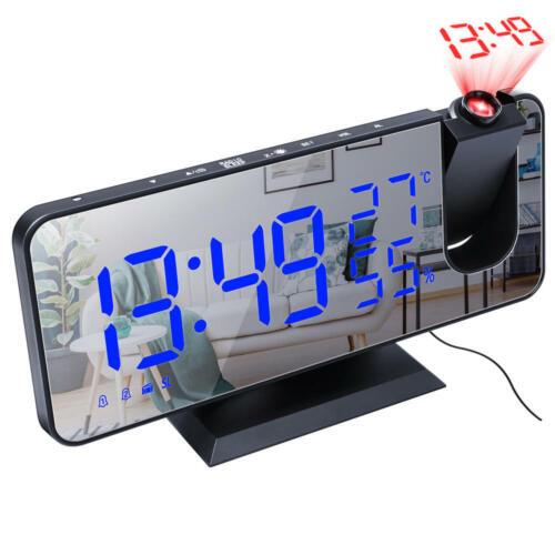 New Digital Alarm Clock LED Display Portable Modern USB//Battery Operated Mirror
