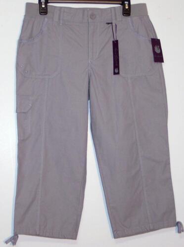 NWT Gloria Vanderbilt Comfort Waist Mid Rise Cotton Cargo Capri Pants 6 12 Gray