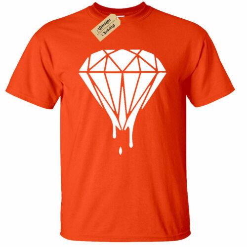 Mens Melting Dripping Diamond Ganster Criminal Shirt T-Shirt Music