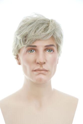 Short Human Hair Grey Straight Monofilament Hand Tied Men/'s Premium Quality Wig