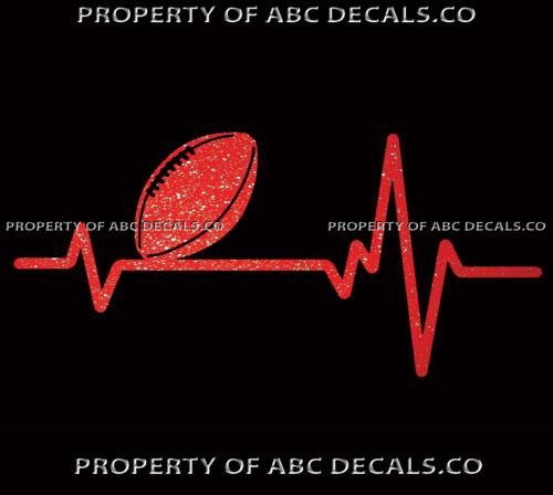 VRS Heart Beat Line SPORTS BALL FOOTBALL Love Passion Pigskin CAR METAL DECAL