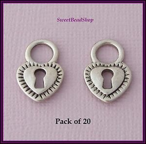 20-Antique-Silver-Colour-27-x-12mm-Double-Sided-Heart-Lock-Charms