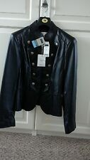 Ladies Next black leather jacket size 14 Milertary style , satin silver buttons,