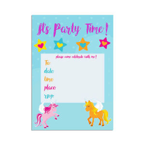unicorn children s party invitations kids girls party invites