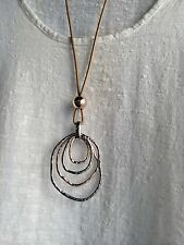 Lagenlook  long quirky  statement Necklace antique silver And Gold  Colour