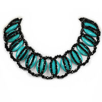 Magnesite Turquoise & Black Crystal Beads Necklace W/silver Tone Clasp 18-20.5