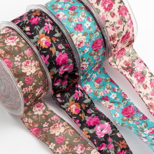 NEW 38mm x 10M VINTAGE FLORAL WIRED EDGE RIBBON