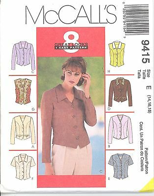 McCall's 9415 Misses' Tops  14, 16, 18   Sewing Pattern