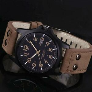 New-Mens-Fashion-Sport-Watches-Men-Military-Leather-Band-Quartz-Wrist-Watch-B-W