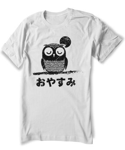 Men Women Sizes Cute Owl T-shirt Anime Manga Kawaii japanese oyasumi