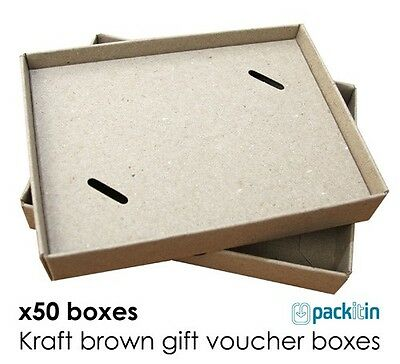 x50 KRAFT BROWN Gift Card Boxes - small - vouchers gifts bonbonniere jewellery