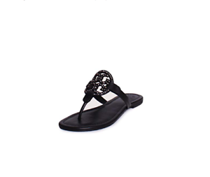 3374a861c1c4a6 Tory Burch NEW Miller Black Leather Embellished Logo Sandals Sizes 6 ...