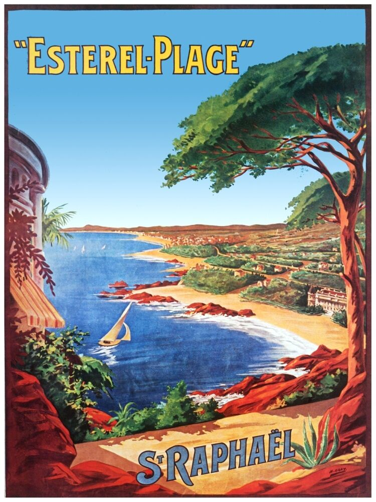 4820.Esterel-Plage.St Raphäel.view of the beach.POSTER cor Home Office art