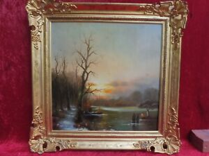 NICE old PAINTING, lively Winter Landscape Lake, Signed: stanisie