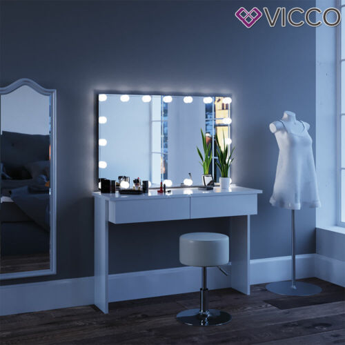 mirror stool Vicco Azure Dressing Table Vanity Desk LED White High-gloss
