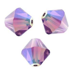 LIGHT AMETHYST XILION 25 Perles Toupies 4mm cristal Swarovski