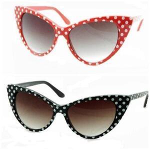 VTG-50s-60s-Style-Polka-Dot-Cats-Eye-Sunglasses-Rockabilly-Pin-Up-NEW-BNWT