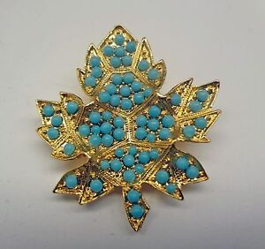 Vintage-D-039-Orlan-Gold-Plated-Maple-Leaf-Pin-Set-With-Tiny-Blue-Beads-Marked-0884